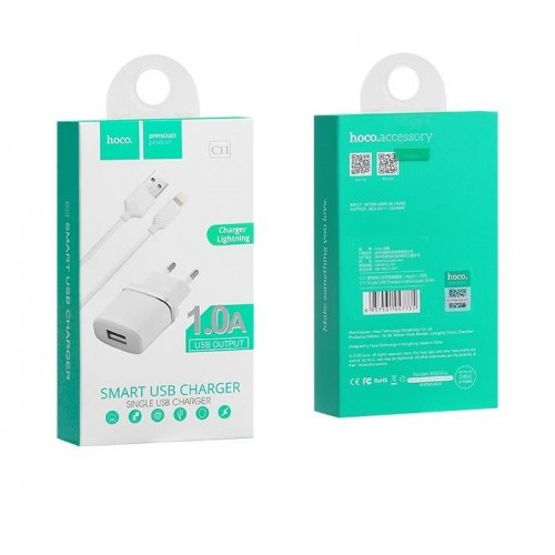 HOCO Travel Charger - 1A plug + IPHONE lightning cable C11 set white