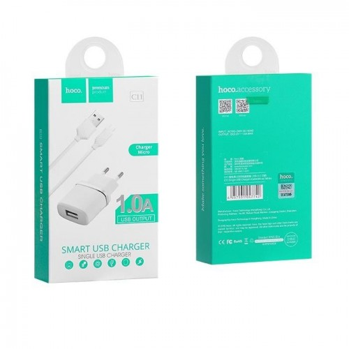 HOCO Travel Charger - 1A plug + micro USB cable C11 set white