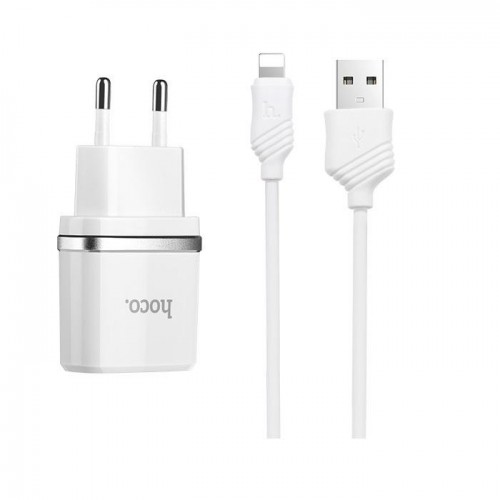 HOCO Travel Charger - 2.4A 2x USB plug + IPHONE lightning cable C12 set white
