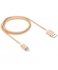 Καλώδιο συγχρονισμού δεδομένων 1m με φωτεινή ένδειξη LED 8pin σε USB.  Woven Style  (Χρυσό)