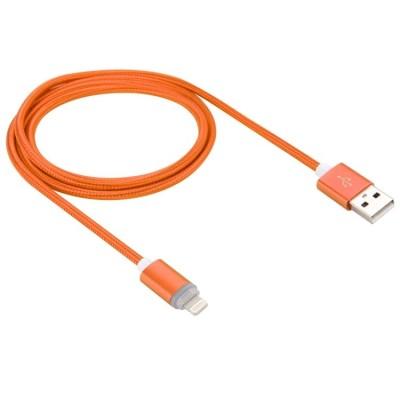 Καλώδιο συγχρονισμού δεδομένων 1m USB καλώδιο με φωτισμό LED. Woven Style (Πορτοκαλι)