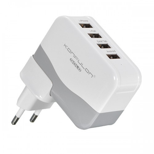 Konfulon 4USB Charger Adaptor 4.2A (White)