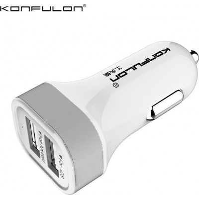 Konfulon Dual Usb Car Charger 2.1A C17 (White)