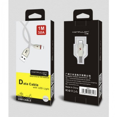 Konfulon charge and data lightning cable with led light S54