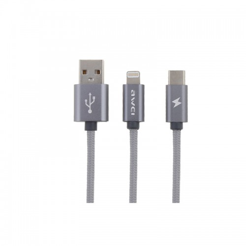 TYPE-C/IPHONE DATA CABLE AWEI CL-984 γκρι