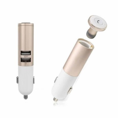 REMAX T11C BLUETOOTH EARPHONE+CAR CHARGER Gold