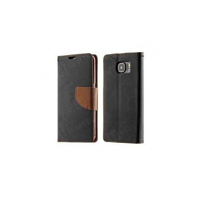 FANCY BOOK CASE - SAMSUNG GALAXY J1 (J100) BLACK-BROWN