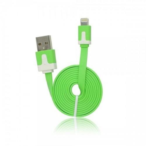 USB FLAT CABLE - IPHONE 5/5C/5S/6/6 PLUS/IPAD MINI ΠΡΑΣΙΝΟ