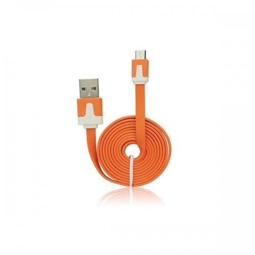 USB FLAT CABLE - IPHONE 5/5C/5S/6/6 PLUS/IPAD MINI ΠΟΡΤΟΚΑΛΙ